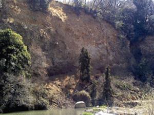 近くの崖が幅100mくらい崩落してしまいました